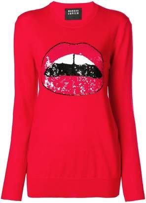 Markus Lupfer sequin lara lip sweater