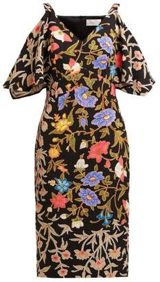 Peter Pilotto Floral And Foliage Print Crepe Midi Dress - Womens - Black Multi