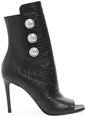 Balmain Women's Monogram-Embossed Leather Peep-Toe Ankle Boots