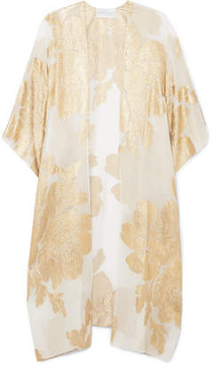 Marie France Van Damme - Big Flower Babani Metallic Silk-blend Chiffon And Jacquard Kimono - Gold