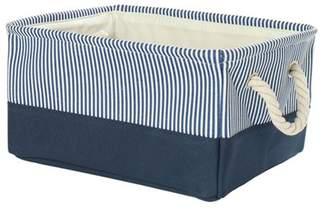 Unique Bargains Foldable Canvas Fabric Storage Bins Basket Clothing Toys Storage Box Organizer