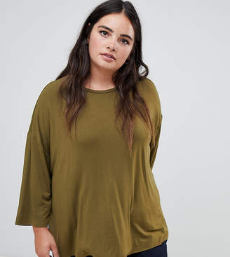Asos DESIGN Curve top with 3/4 sleeves in drapey fabric in khaki