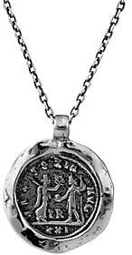 Or Paz Sterling Men's Coin Design Pendant w/ Chain