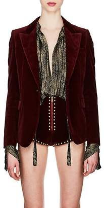 Saint Laurent Women's Velvet Long One-Button Blazer