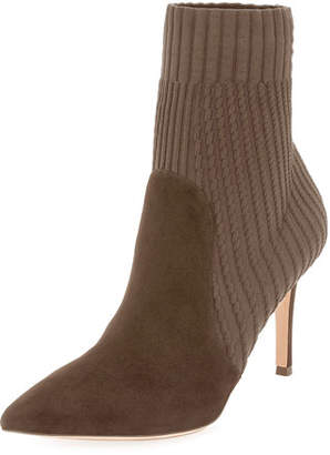 Gianvito Rossi Katie 85 Suede Sock Booties, Taupe
