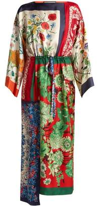 Gucci Printed Foulard Patchwork Silk Dress - Womens - Multi