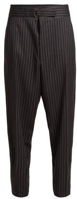 Stella McCartney Tapered Leg Pinstriped Wool Blend Trousers - Womens - Navy Stripe