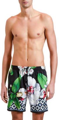 Dolce & Gabbana Men's Orchid Floral-Print Shorts