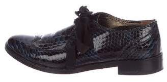 Lanvin Patent Leather Embossed Oxfords