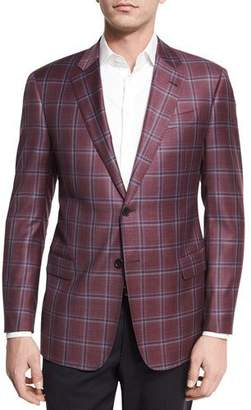 Armani Collezioni Plaid Wool Two-Button Sport Coat, Bright Pomegranate