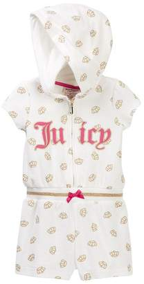 Juicy Couture Vanilla Glitter Crown Print Hooded Terry Romper (Little Girls)