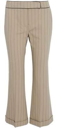 Brunello Cucinelli Cropped Bead-Embellished Striped Stretch-Cotton Flared Pants