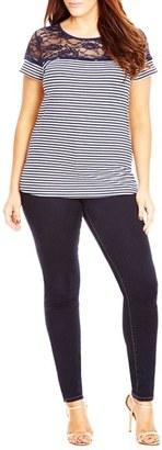 Plus Size Women's City Chic Lace Detail Stripe Tee $39 thestylecure.com