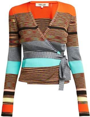 Diane von Furstenberg Striped knitted wrap cardigan