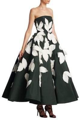 Oscar de la Renta Silk Leaf Gown