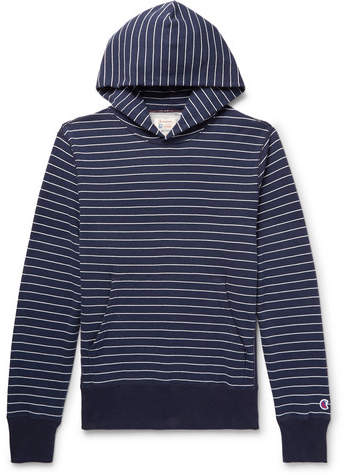 Todd Snyder + Champion Striped Loopback Cotton-Jersey Hoodie
