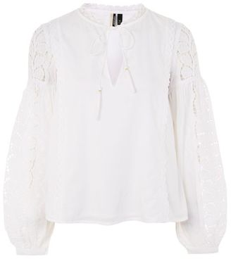 Topshop Lace balloon sleeve smock blouse