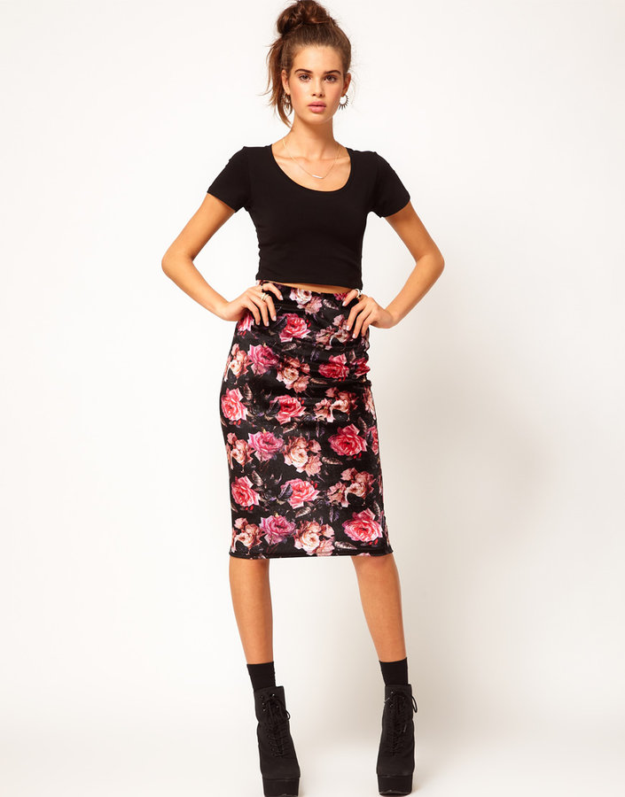 River Island Rose Print Velvet Pencil Skirt