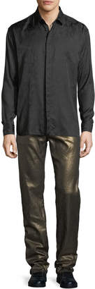 Saint Laurent Metallic 5-Pocket Skinny Jeans