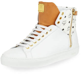 MCM Men's Collection Leather High-Top Sneakers