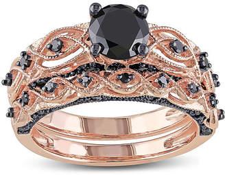 Black Diamond MODERN BRIDE Midnight 1? CT. T.W. 10K Rose Gold Bridal Ring Set