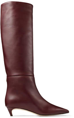 Jimmy Choo MAXIMA 35 Bordeaux Calf Leather Knee High Boots