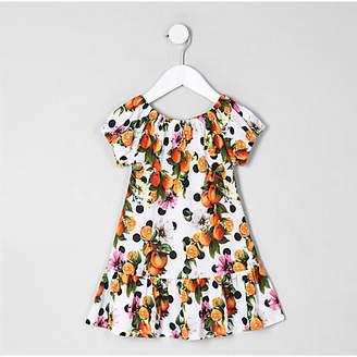 River Island Mini girls White orange print dress