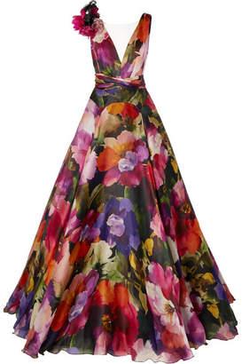 Marchesa Appliquéd Tulle-trimmed Floral-print Silk-organza Gown - Pink