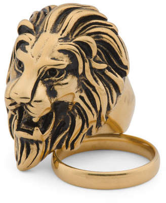 Men's Set 18k Gold Plated Stainless Steel Lion Ring And Band