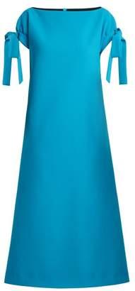 Emilia Wickstead Marlene Cloque Stretch Crepe Dress - Womens - Mid Blue