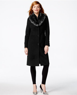 Jones New York Faux-Fur-Collar Walker Coat $360 thestylecure.com