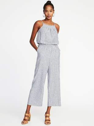 Old Navy Sleeveless Smocked-Neck Striped Jumpsuit for Women