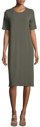 Eileen Fisher Short-Sleeve Round-Neck Jersey Dress $198 thestylecure.com