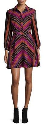 Diane von Furstenberg Chrissie Chevron-Stripe Shirtdress, Counterpointe Rubiate $448 thestylecure.com