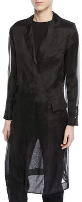 Max Mara Soraga Long-Sleeve Silk Organza Trench Coat