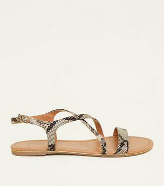 New Look Wide Fit Brown Faux Snakeskin Metal Edge Flat Sandals