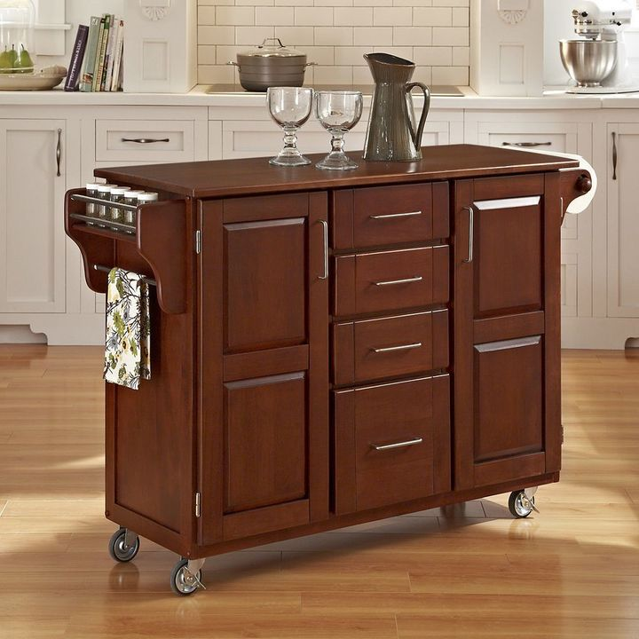 Home styles Oak-Top Four Drawer Kitchen Cart