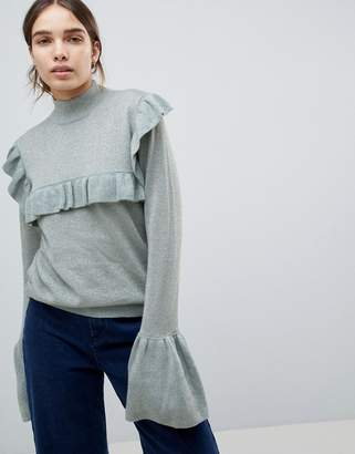 Minimum Ruffle High Neck Sweater