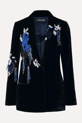Cushnie Embellished Velvet Blazer - Midnight blue
