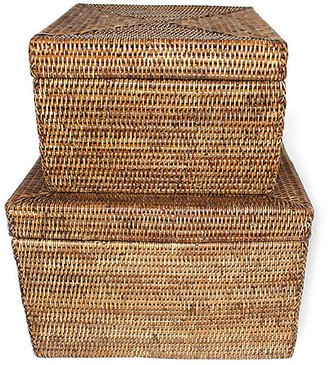 One Kings Lane Asst. of 2 Evans Square Storage Baskets - Brown