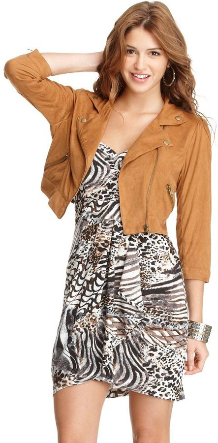 American Rag Jacket, V-Neck Three Quarter Sleeve Faux Leather Zipper Motorcycle Cropped