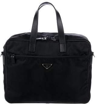 Prada Saffiano-Trimmed Tessuto Briefcase