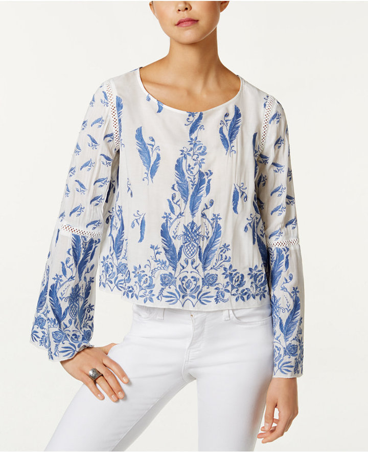 Buffalo David Bitton Feather-Embroidered Cropped Top