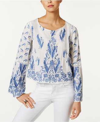 Buffalo David Bitton Feather-Embroidered Cropped Top $99 thestylecure.com