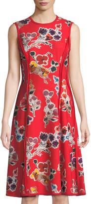 Jason Wu Floral-Print Sleeveless Crepe Dress, Red
