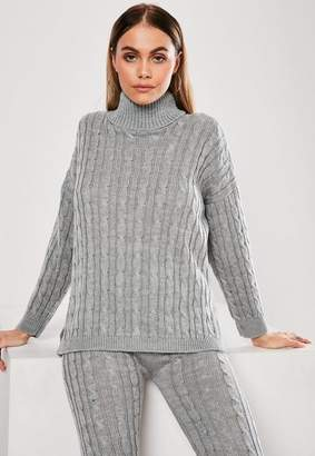 Missguided Grey Cable Knit Turtle Neck Co Ord Sweater
