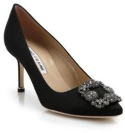 Manolo Blahnik Hangisi 70 Crystal-Embellished Satin Pumps $965 thestylecure.com