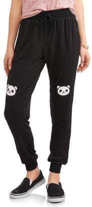 Lemondrop Juniors' Panda Knee Graphic Fleece Jogger Sweatpants
