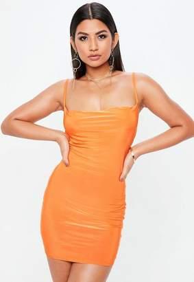 Missguided Petite Orange Slinky Cowl Dress