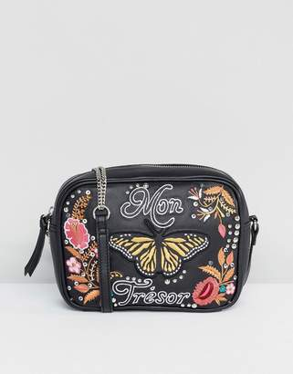 Asos Leather 'My Treasure' Embroidered Stud Camera Bag